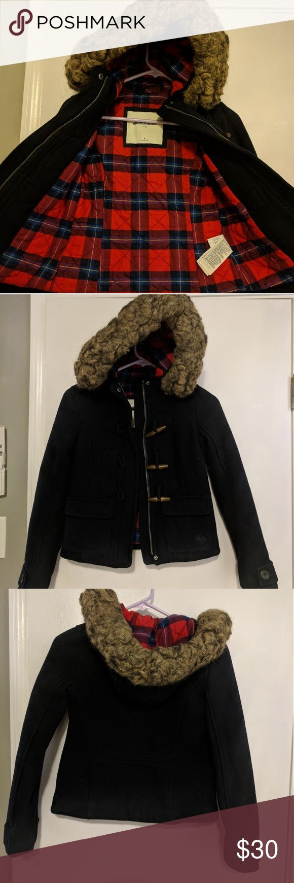 Abercrombie girls coat w/ plaid lining size Medium Girls size medium dark navy blue color, in great condition! abercrombie kids Jackets & Coats Pea Coats