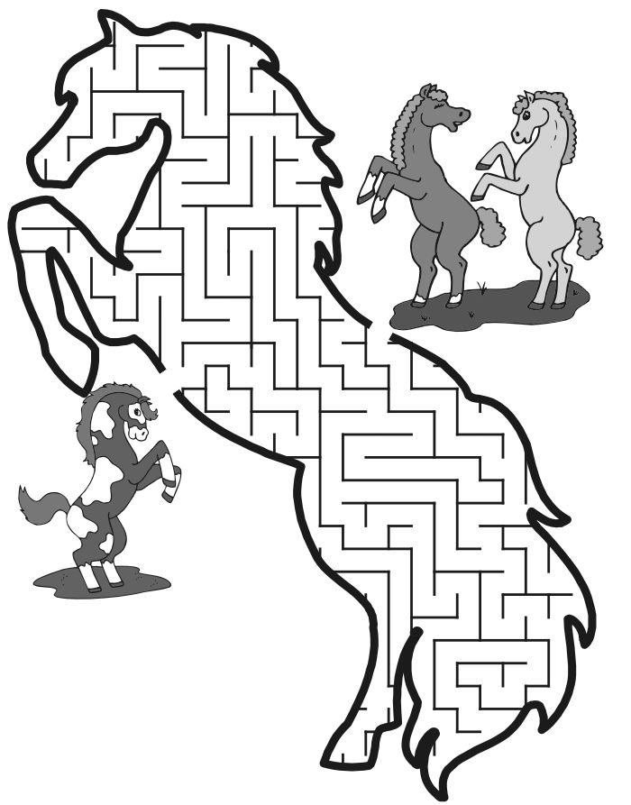 Horse Maze: Help the rearing horse thru the maze to find its friends.