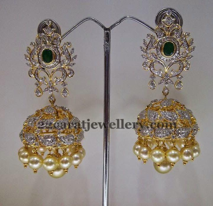 Exquisite Diamond Jhumkas   Jewellery Designs