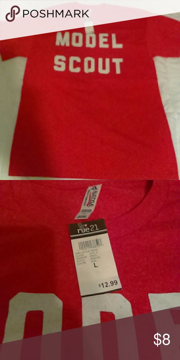 "🆕MODEL SCOUT UNISEX TEE SZ L Red unisex tee ""MODEL SCOUT"" Rue 21 Shirts Tees - Short Sleeve"