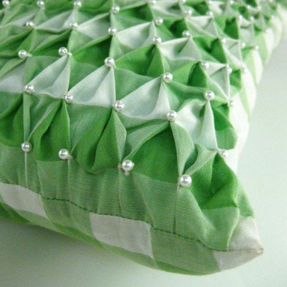 Gingham - smocked pillow