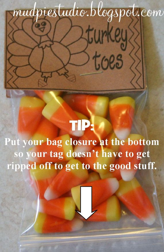 Thanksgiving Treat Bag, I love the idea of putting the bag opening at the bottom.