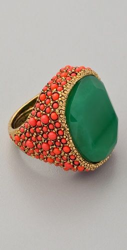 Coral & jade: Kenneth Jay Lane, Statement Rings, Colors Combos, Cocktails Rings, Jade Rings, Green Rings, Lane Coral, Emeralds Rings, Jade Cocktails