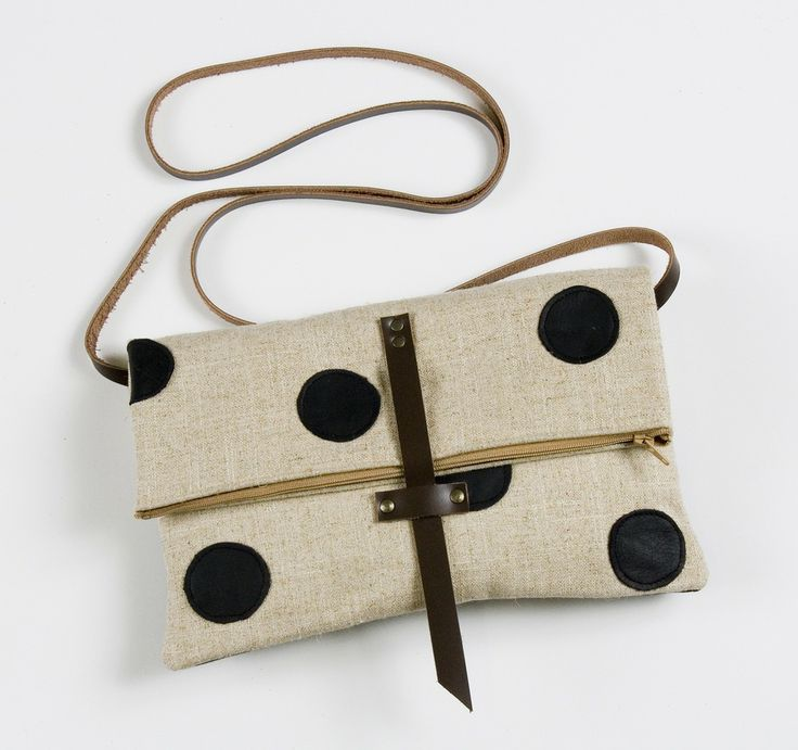 Image of foldover crossbody bag with hand cut leather dots (black)