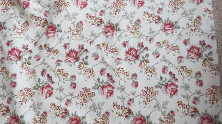 """Waverly Floral Fabric """"Shannon"""" Roses 7 Yards X 57"""" single piece pink red cream #Waverly"""