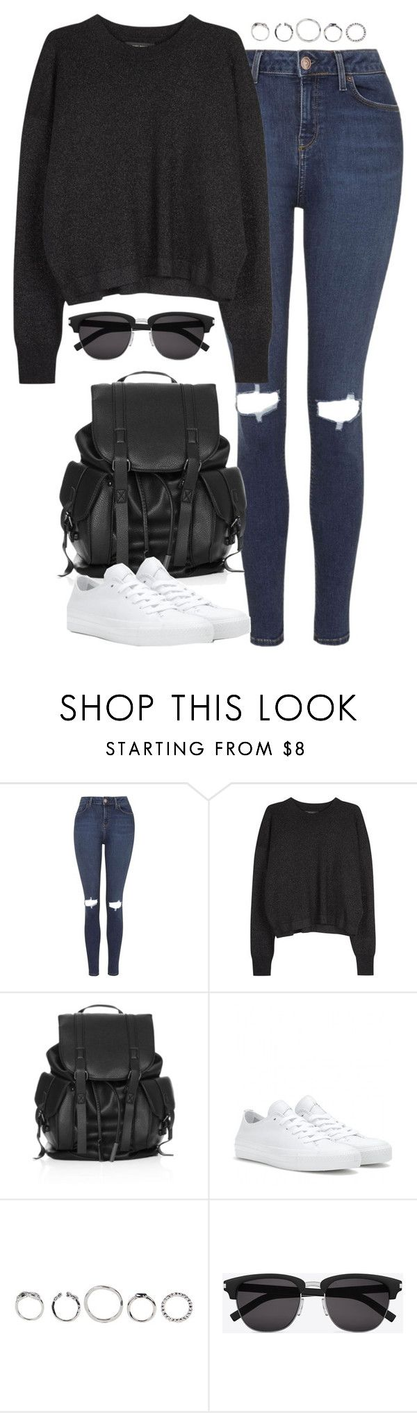 """Untitled #4913"" by eleanorsclosettt ❤ liked on Polyvore featuring Topshop, Isabel Marant, Converse and Yves Saint Laurent"