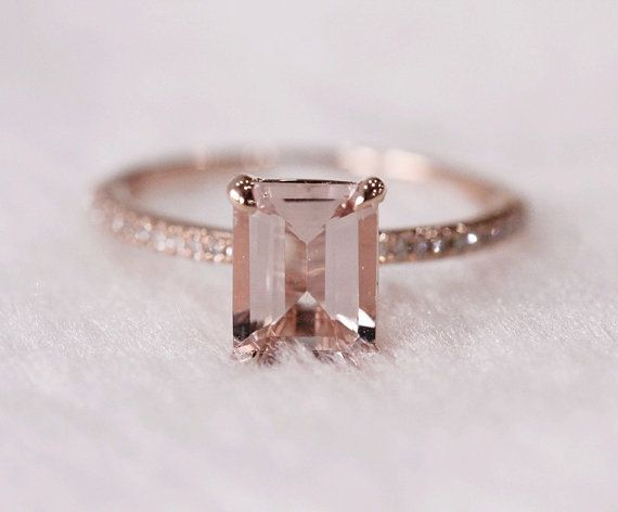 Pink Emerald Cut 6x8mm VS Morganite Ring SI/H Diamonds Wedding Ring 14K Rose Gold Engagement Ring/ Promise Ring/ Anniversary Ring