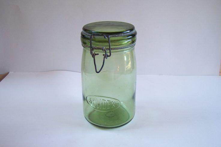 Bocal en verre haut pot en verre SOLIDEX bocal gravé vintage  1 litre Made in France de la boutique MyFrenchIdeedAntique sur…