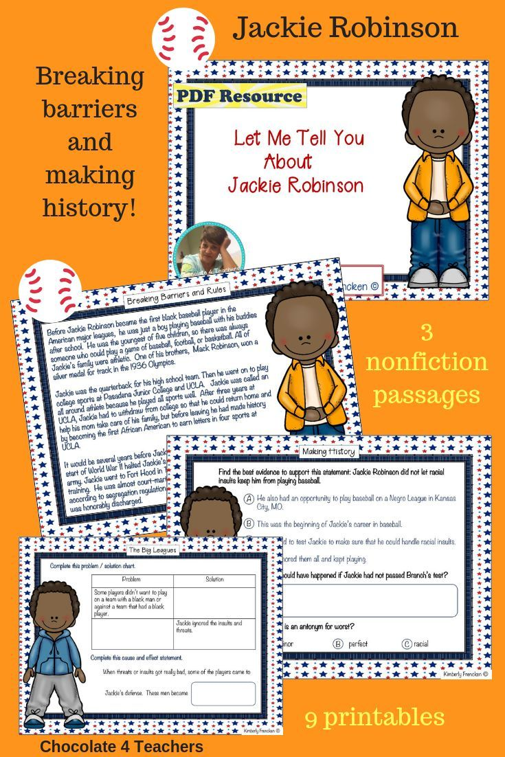 Read About The Courage And Character Of Baseball Great Jackie Robinson In Three Nonfiction Passages Th Elementary Reading Jackie Robinson Nonfiction Passages [ 1102 x 735 Pixel ]