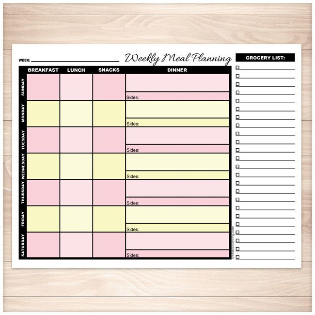 Pink & Yellow Weekly Meal Planning Page with Grocery List - Printable