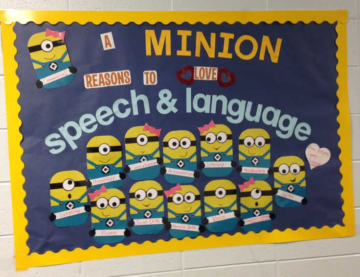 My speech & language minions bulletin board Fall 2015 (minions printables…