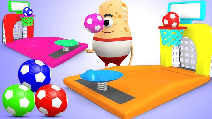 Learning Colors for Children with Tatar Spud Fun Playing Basketball Game...