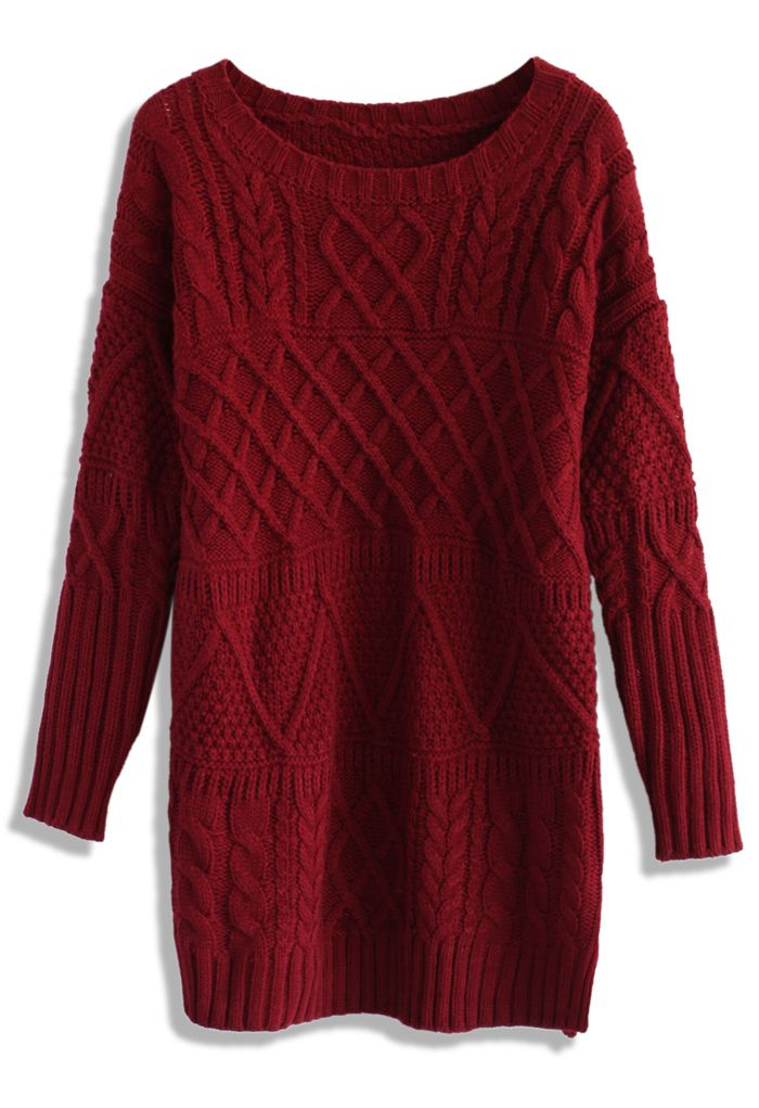 Cable Knit Sweater Dress in Wine - Retro, Indie and Unique Fashion