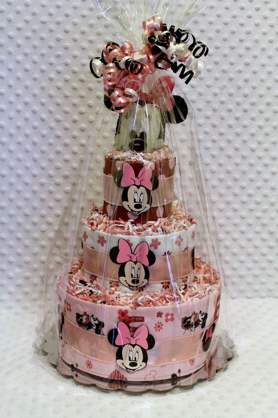Baby Diaper Cake Minnie Mouse With Handmade Baby Rattle