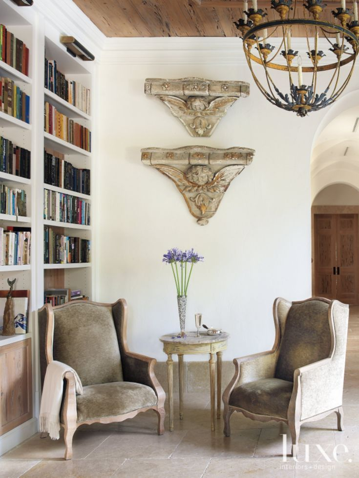 Mediterranean White Library with Velvet Armchairs