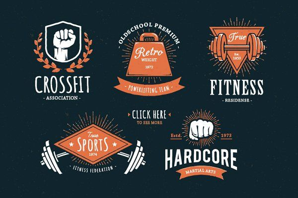 Retro Gym | Logo Templates - Logos