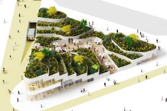 Condomínio abriga grande jardim suspenso sobre área de supermercado | Ecotelhado