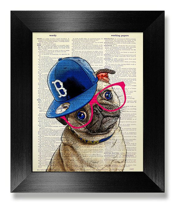 Nerdy Pug print in dictionary page