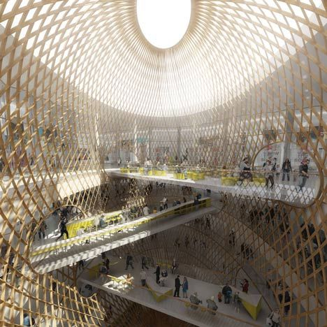 French architects Agence Search have won a competition to design a Paris shopping mall with proposals involving giant elliptical lattices.