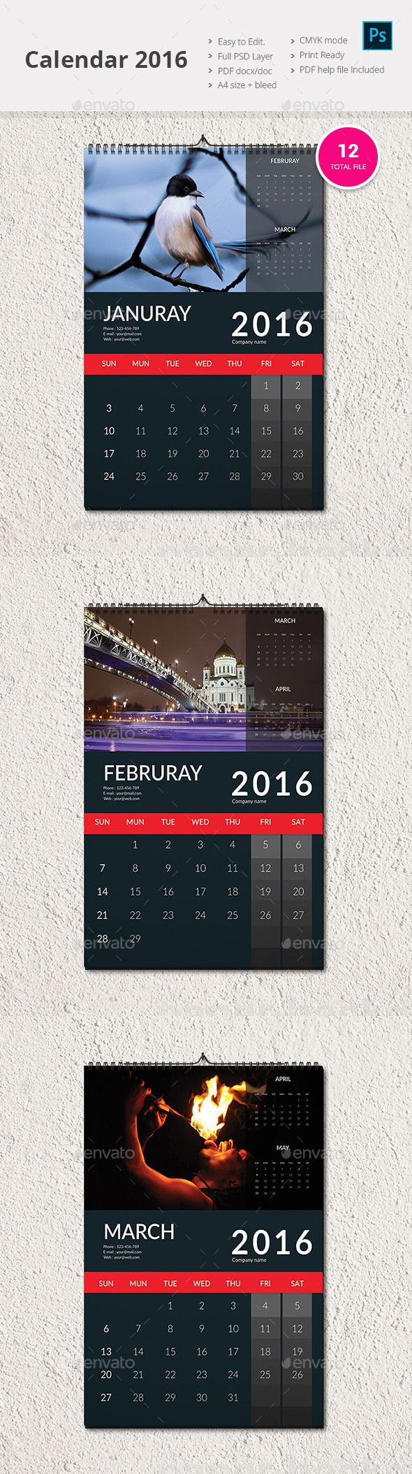Wall Calendar 2016 Template PSD #design Download: http://graphicriver.net/item/wall-calendar-2016/13721964?ref=ksioks