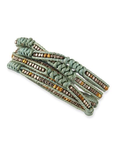 """Bracelet, Neiman Markus Nakamol leather wrap bracelet. -Approx. 35""""L x 1/4""""W (single strand). -Gunmetal and golden center beads. -Knotted design between beading. -Wraps around wrist five times. -Silver plated brass button closure."""