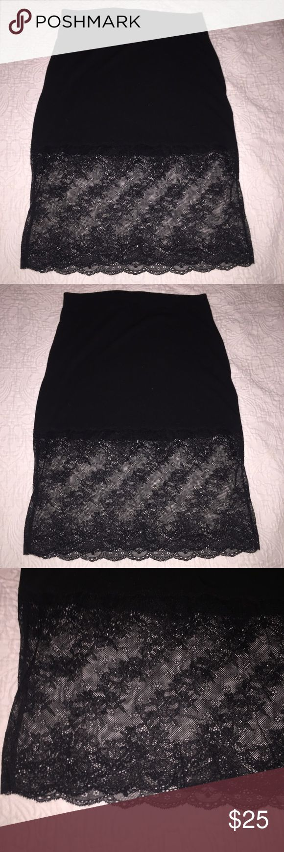 Urban Outfitters Kimchi Blue Black Lace Trim Skirt Urban Outfitters Kimchi Blue Black Lace Trim Skirt. Gorgeous Wide Lace at Hem. Size M Urban Outfitters Skirts Pencil
