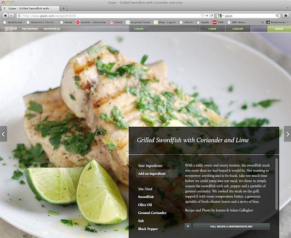 Gojee - recipe website