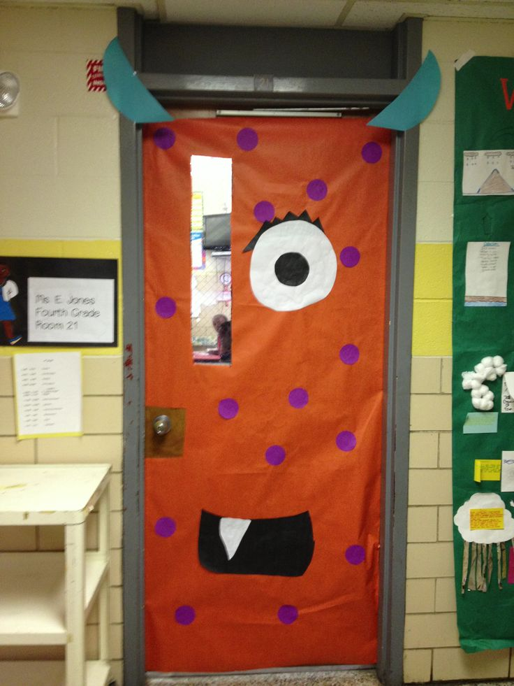 monster door decorated classroom door
