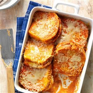 Grilled Cheese & Tomato Soup Bake -- This casserole brings together two classic comfort foods, grilled cheese sandwiches and tomato soup, no dipping required.