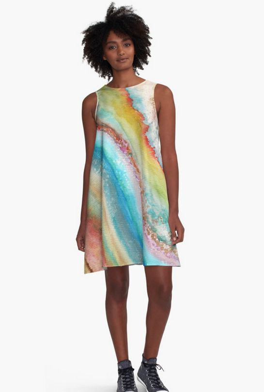 AGATE Inspired Watercolor Abstract 01. Dress by Vivigonzalezart