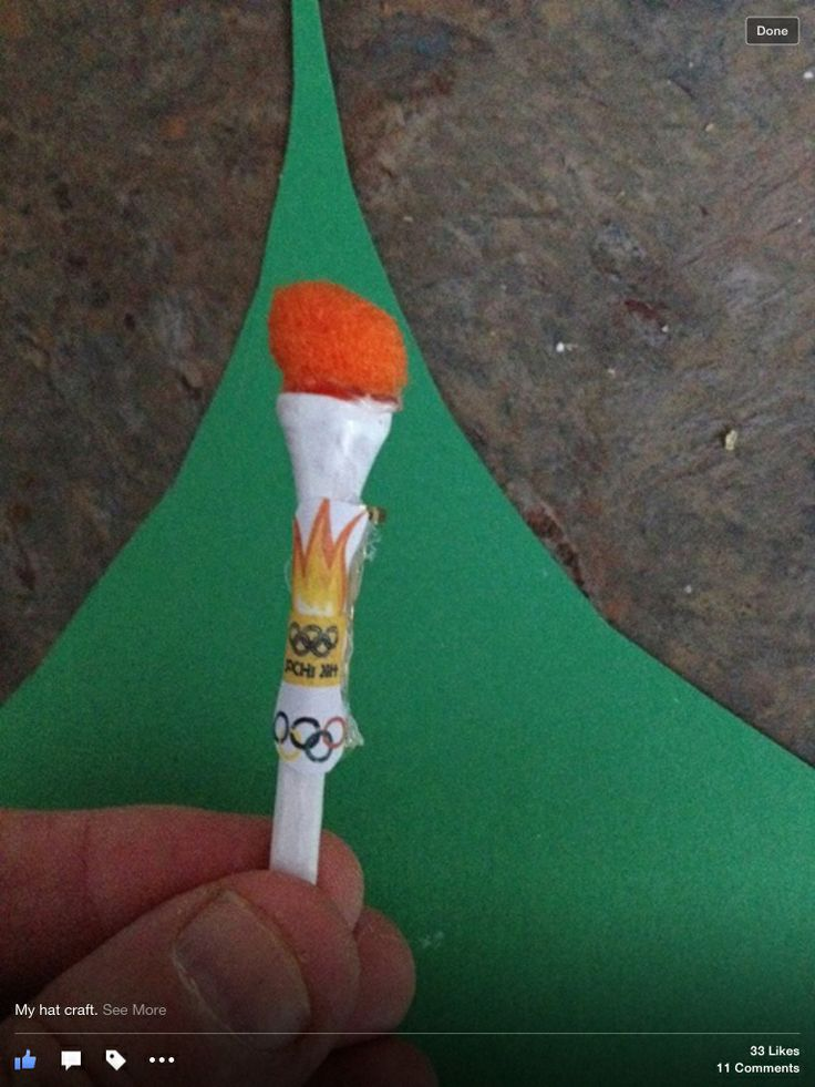 Such a cute Olympic hat craft...using golf tee and mini pompom.