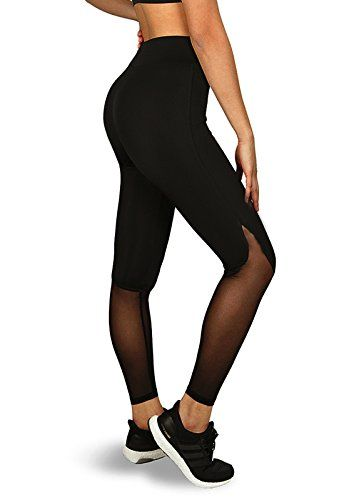FITTOO Pantalon Yoga Legging de Sport Femme Fitness Collant avec Tulle 3b8001ea671f