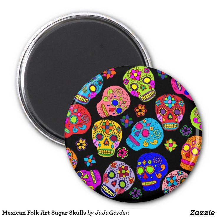 Cráneos mexicanos del azúcar del arte popular imán redondo 5 cm