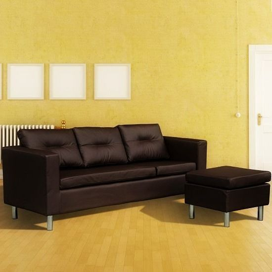 #Faux #Leather #Sofa #3 #Seater #Brown #Lounge #Settee #Couch #Ottoman #Stool #Corner #Seat