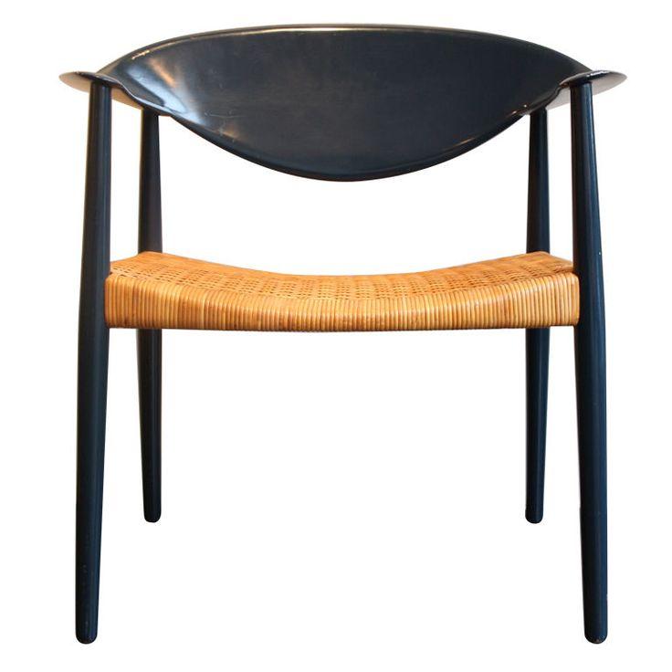 Ejner Larsen & Aksel Bender Madsen; Painted Wood and Wicker 'Metropolitan' Armchair, 1959.