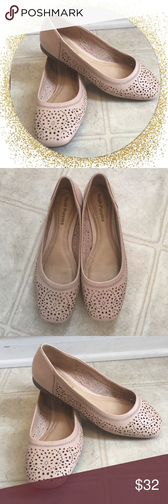 Hush Puppies nude Flats Gently worn , great condition Leather . Worn twice, very good condition.   Welcome all reasonable offers  I have customize discount for each Posher.  Make a bundle  of at least 2 items and lets talk about your price  Hush Puppies Shoes Flats & Loafers