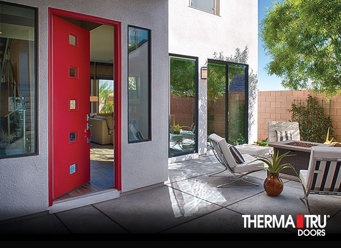 Therma Tru Pulse Echo Fiberglass Door Painted Positive Red With Clear Glass Pulse Pinterest