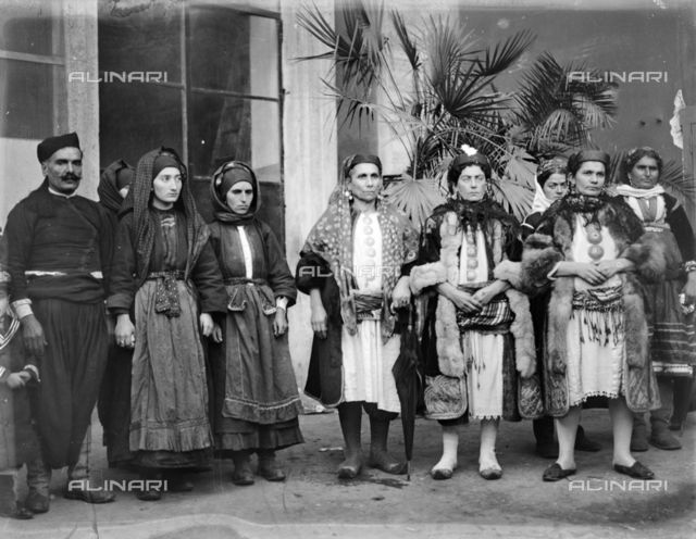 Folklore group from Dodecanese islands photographed during the celebrations for the marriage between Umberto di Savoia and Maria Jose of Belgium. Place of photography Rome Collection: Luigi Leoni Archive / Alinari Archives.  Image date: (06/01/1930) www.alinari.it