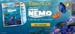 SAVE 5$ ON FINDING NEMO 3D BLU-RAY    Disney has released another coupon offer this time to save $5 on 'Finding Nemo - 3D' Blu-ray 3D/Blu-ray/DVD/Digital Copy 5-disc combo pack available up to December 9, 2012.