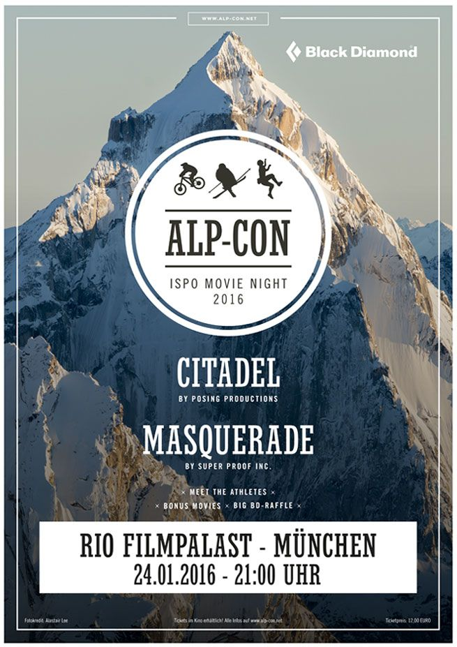 ISPO-Movie-Night 2016   #AlpCon #Freeride #MovieNight #FilmNacht #Ski #Mountains #Klettern #Alpin #Berge #BlackDiamond #Masquerade #Superproofinc #Citadel #PosingProductions #ISPO2016