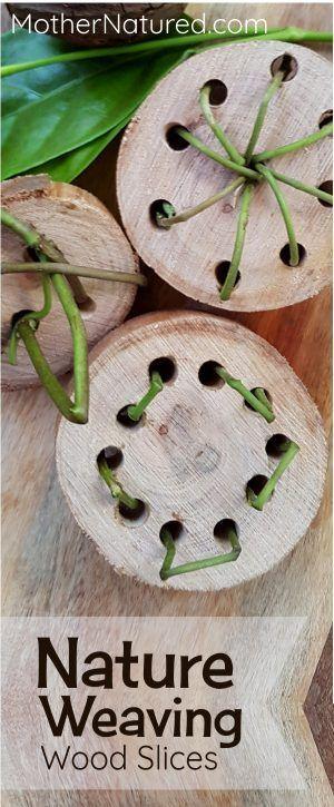 DIY Nature Weaving Wood Slices