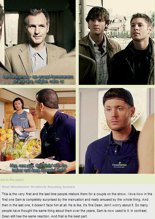 Dean just doesn't swing that way ;) [GIFSET] 1x08 Bugs and 9x13 The Purge (Dean Winchester Brotherly Bonding Scenes)