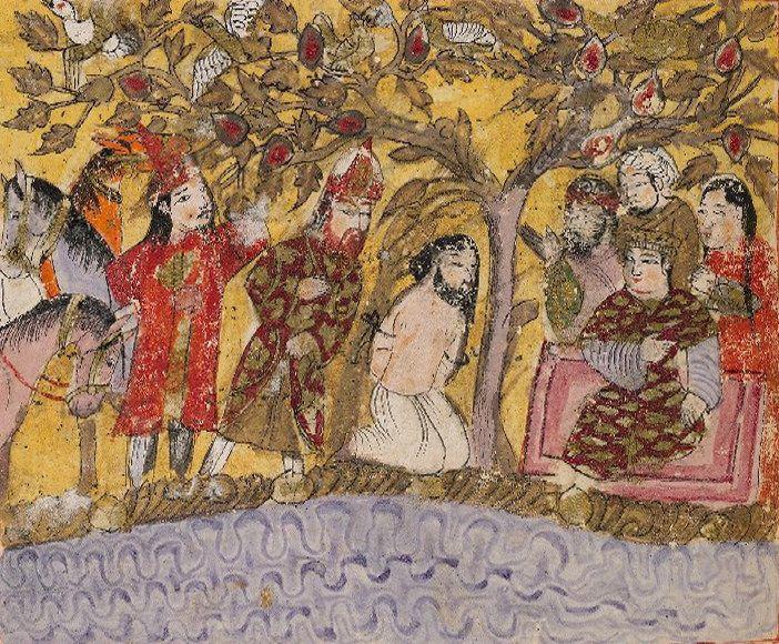 برگ مصور از كتاب سَمَک عَیّار، نگارگر ناشناس، حدود 1330 ميلادي Kitāb-i-Samak 'Iyār Type of Object: manuscript Number of leaves: 335 leaves Dimensions: 295 x 195 (written area 250 x 152, frame-ruled) mm. Date of Origin: 14th century, first half, c. 1330 Author: Faramarz Arjani, Qāsim Shīrāzī, Ṣadaqah Class: Persian Class: illuminated manuscripts Language: Persian bodley30.bodley.ox.ac.uk:8180/luna/servlet/view/all/what/...