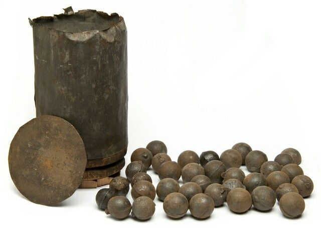 This was the really nasty, short-range, anti-personnel stuff. Basically, it's a large tin can (like an over-sized soup can) filled with saw dust and dozens of lead or iron balls. When fired, the can would shred immediately, creating additional shrapnel. Canister rounds effectively made a cannon into a giant shotgun. A disassembled canister round. (Image from Wikipedia) As you can well imagine, this was brutally deadly against the types of line-of-battle formations that were used during the…
