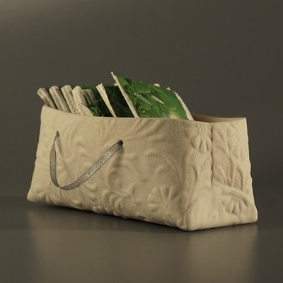 porcelain textured bag, perfect for holding magazines, wapa on etsy #porcelain #magazine