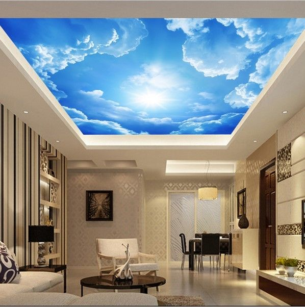 3D Clouds Ceiling Wallpaper Blue Sky Wall Paper Mural