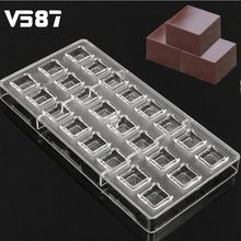 24 Cube Shaped Polycarbonate Chocolate Mold Plastic Clear 3D Ice Jelly Candy Mould PC Transparent Tray Kitchen Baking Mold Tools(China (Mainland))