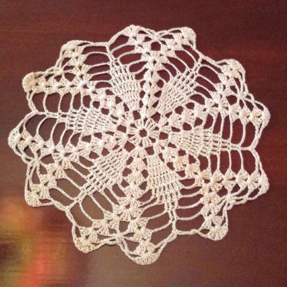 9 1/2 Inch Round vintage Pink Crocheted Lace Doily, Table Linen, Centerpiece. For Sale by DanushasCollectibles vintage Etsy shop.
