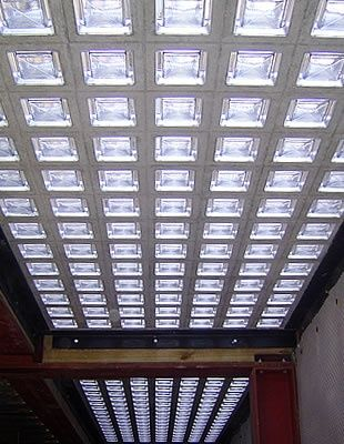 This would be great to bring light into the main floor ... Floor on one side, ceiling on other. std ssize 3-4 inches thick with a hollow vacuum center or as a solid piece of glass that is as thick as 3 inches with no hollow center.
