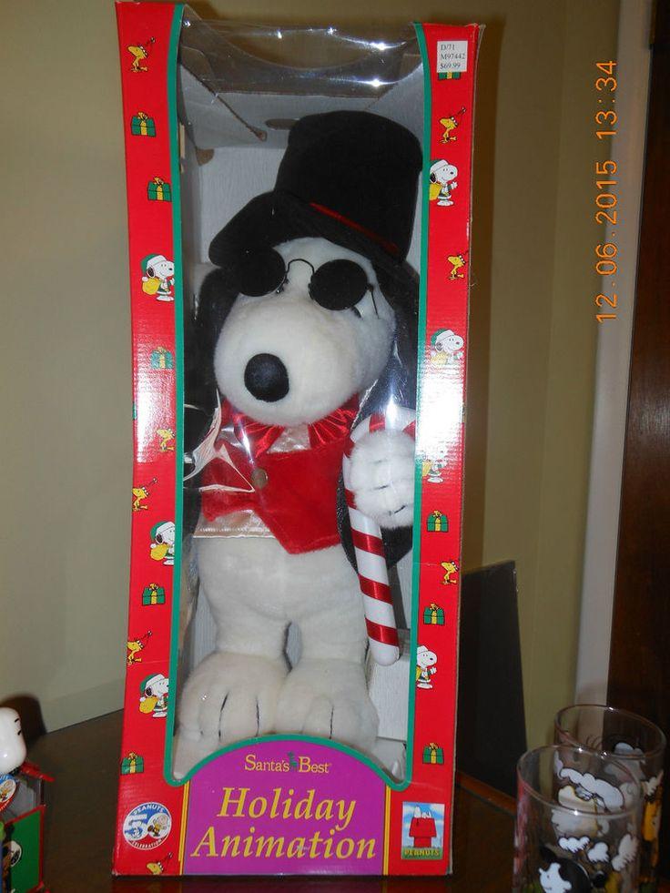 Santa's Best Licensed Peanuts Snoopy Scrooge Animated Xmas Decoration MIB